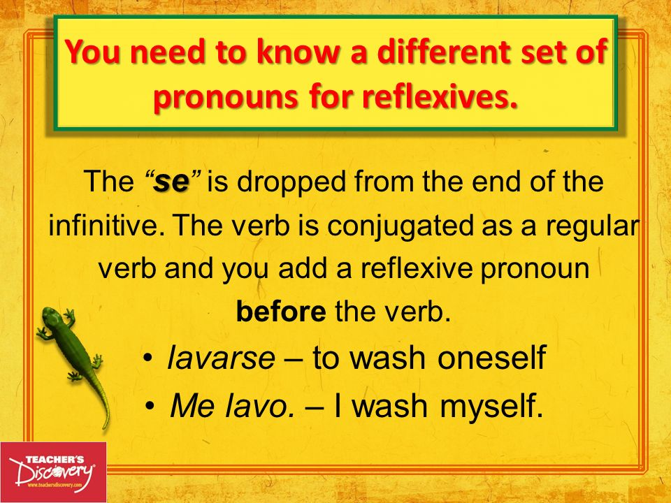 You need to know a different set of pronouns for reflexives.