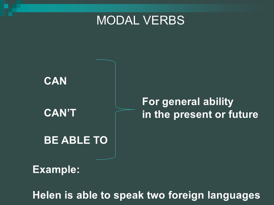 MODAL VERBS CAN For general ability in the present or future CAN'T