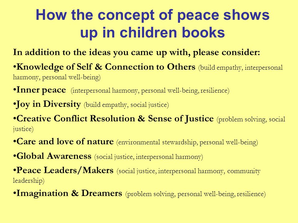 How the concept of peace shows up in children books