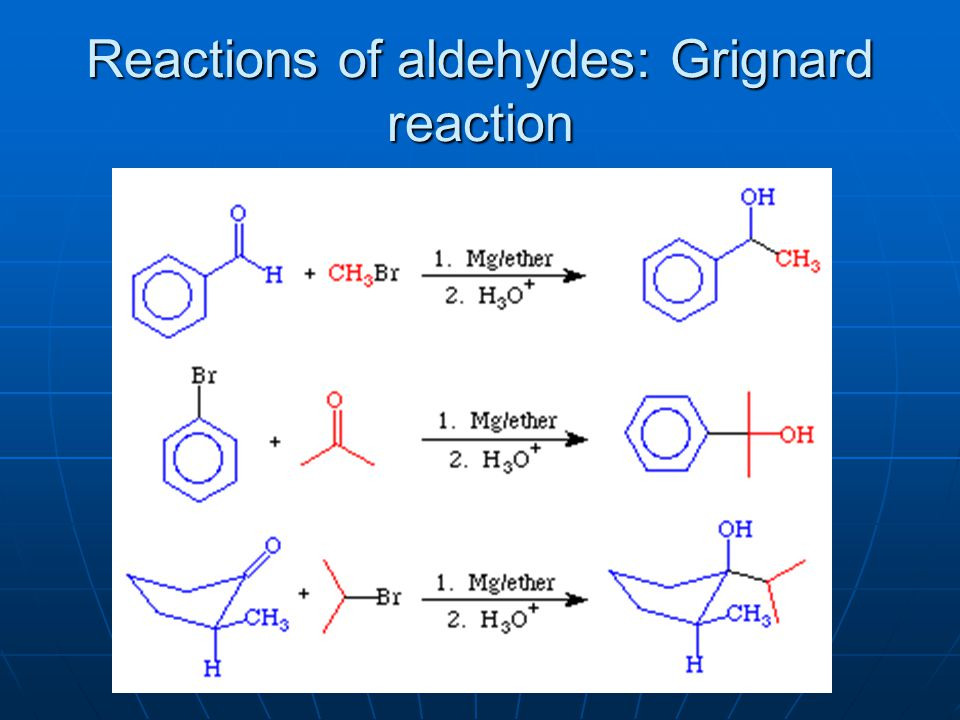 Reactions of aldehydes: Grignard reaction