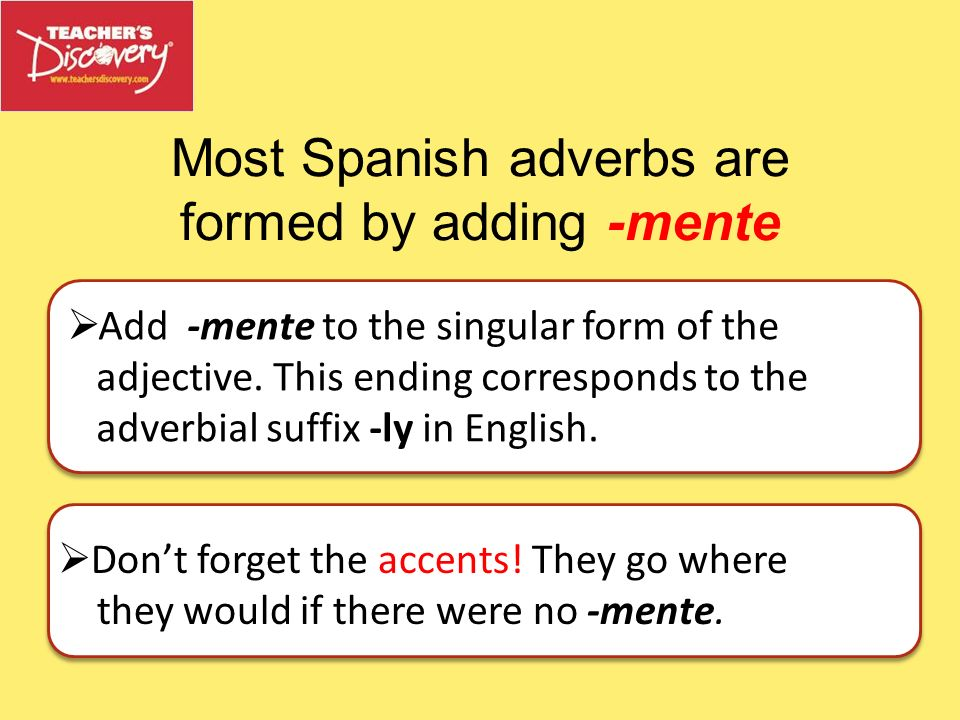 Most Spanish adverbs are formed by adding -mente