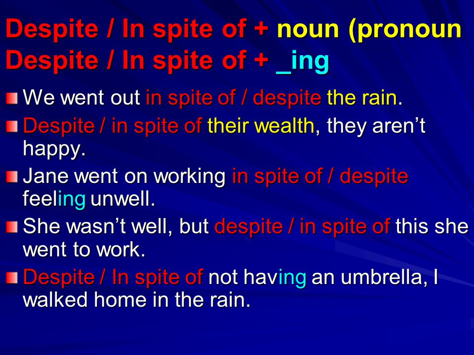 Despite / In spite of + noun (pronoun Despite / In spite of + _ing
