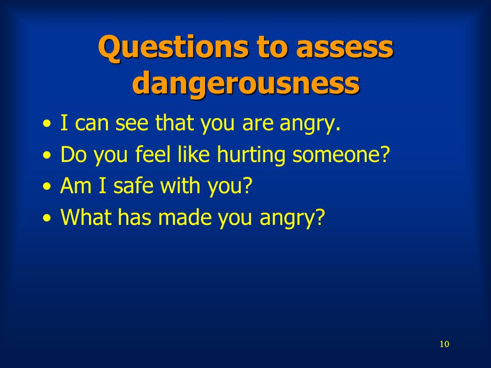 Questions to assess dangerousness