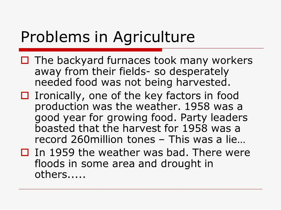 Problems in Agriculture