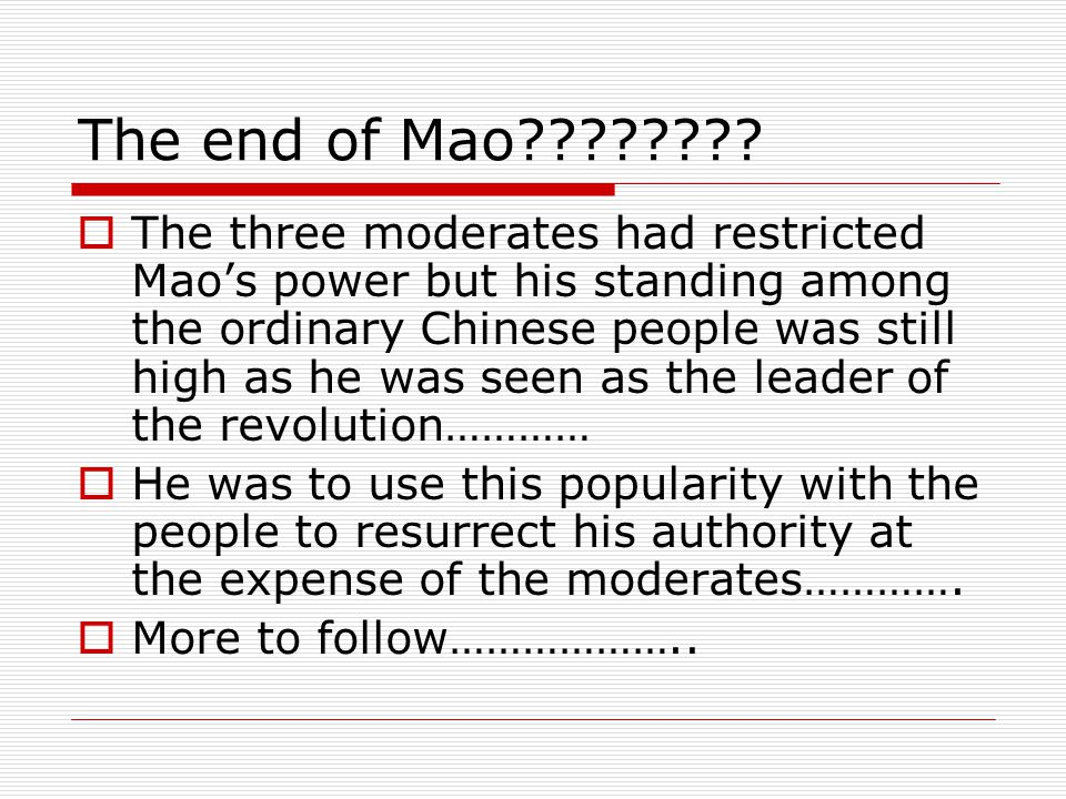 The end of Mao
