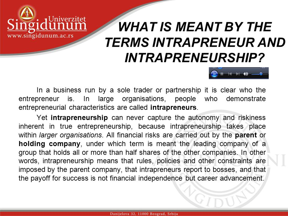 WHAT IS MEANT BY THE TERMS INTRAPRENEUR AND INTRAPRENEURSHIP