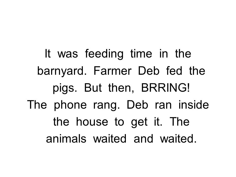 It was feeding time in the barnyard. Farmer Deb fed the