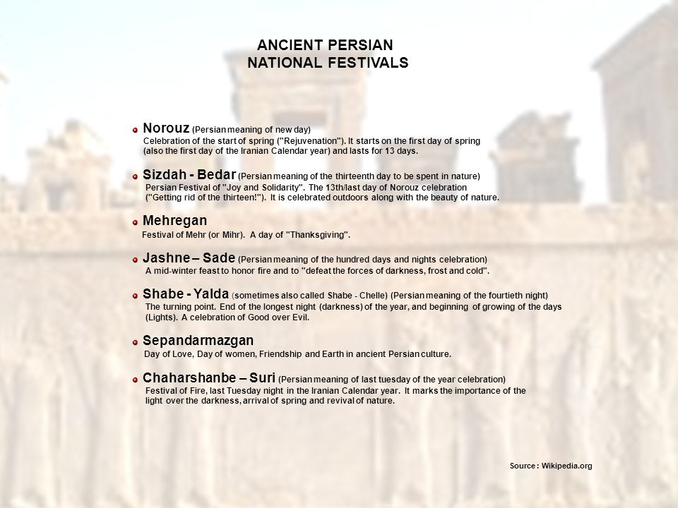 ANCIENT PERSIAN NATIONAL FESTIVALS
