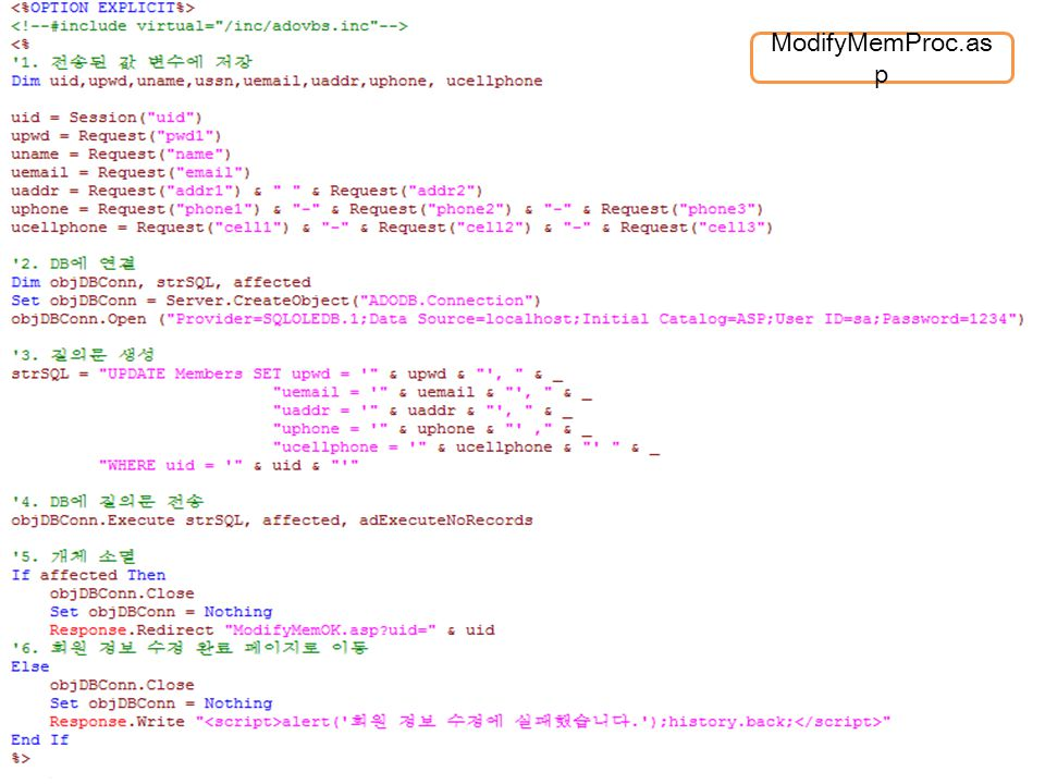 회원 정보 수정 및 탈퇴 처리 (3/3) ModifyMemProc.asp ModifyMemOk.asp 정보 수정을 처리