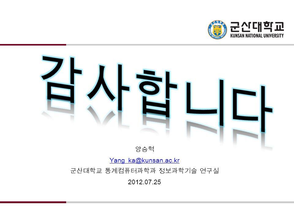 Yang_ka@kunsan.ac.kr 군산대학교 정보통계학과 정보과학기술 연구실 2012.01.03