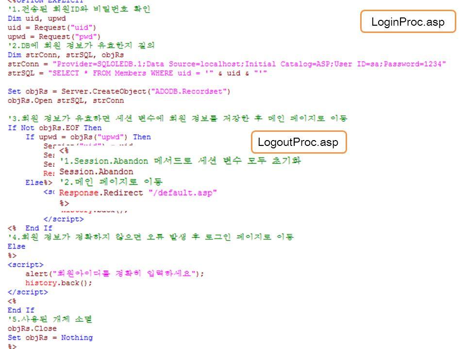 로그인 처리 LoginProc.asp LogoutProc.asp 입력받은 ID와 비밀번호를 검증, 로그인 처리 로그아웃을 처리