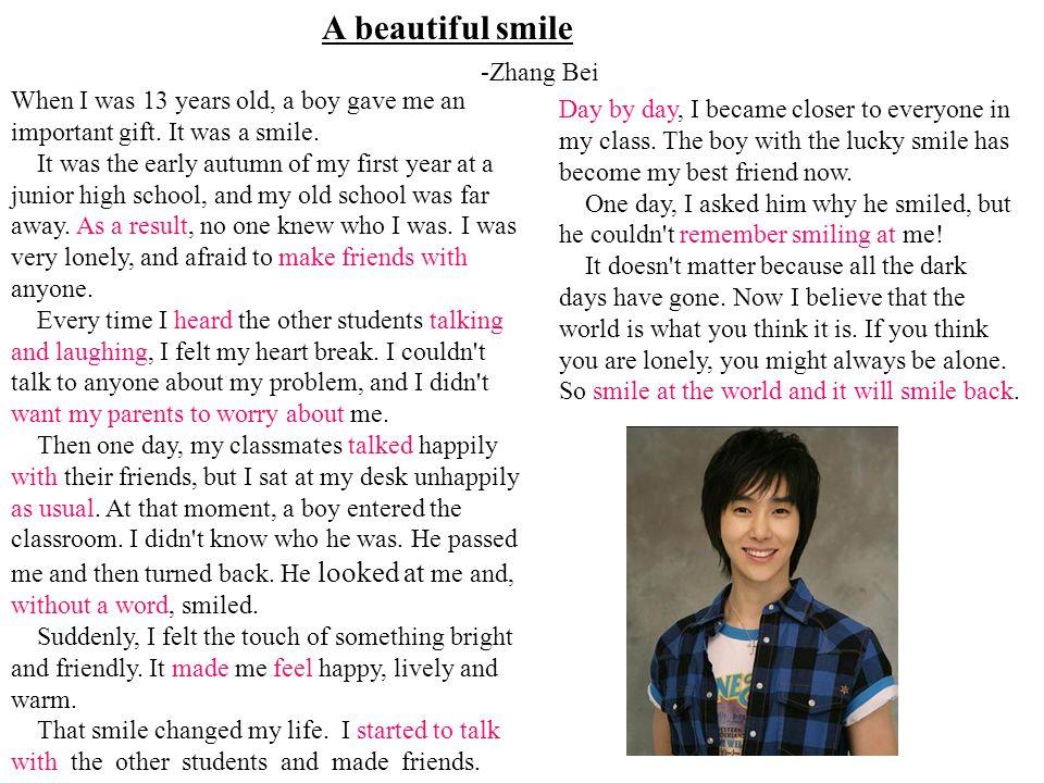 A beautiful smile -Zhang Bei