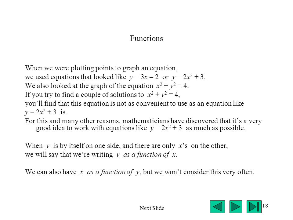 Functions When we were plotting points to graph an equation,