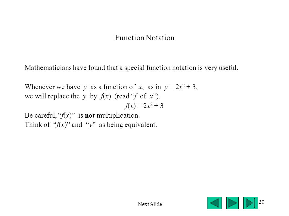 Function Notation Mathematicians have found that a special function notation is very useful.