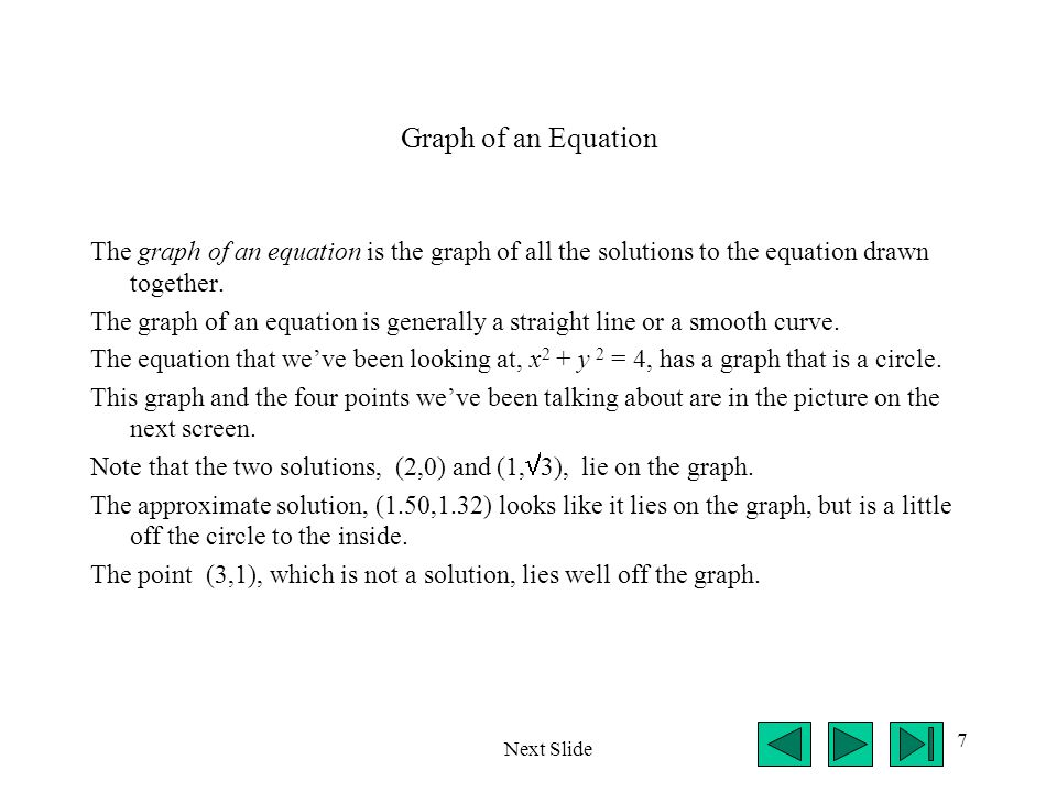 Graph of an Equation The graph of an equation is the graph of all the solutions to the equation drawn together.