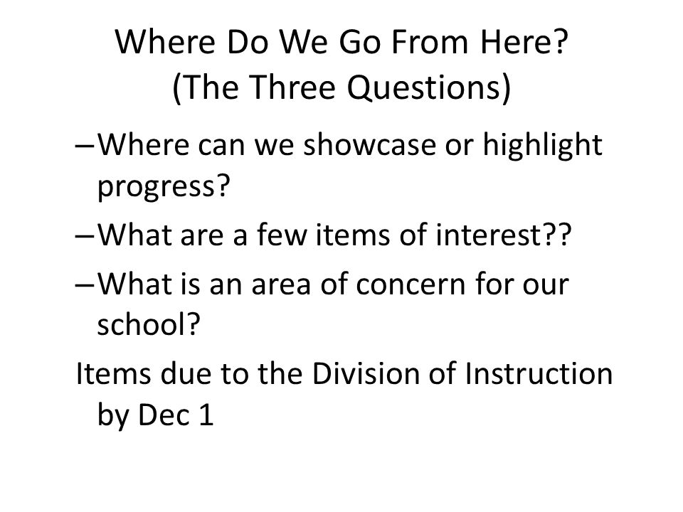Where Do We Go From Here (The Three Questions)