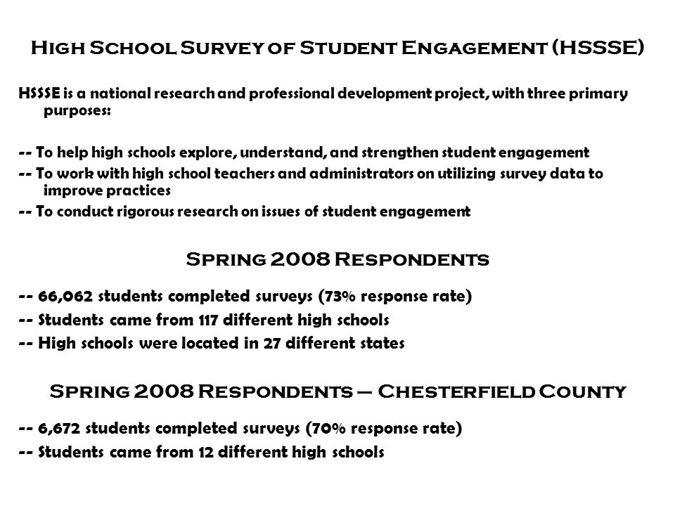 High School Survey of Student Engagement (HSSSE)