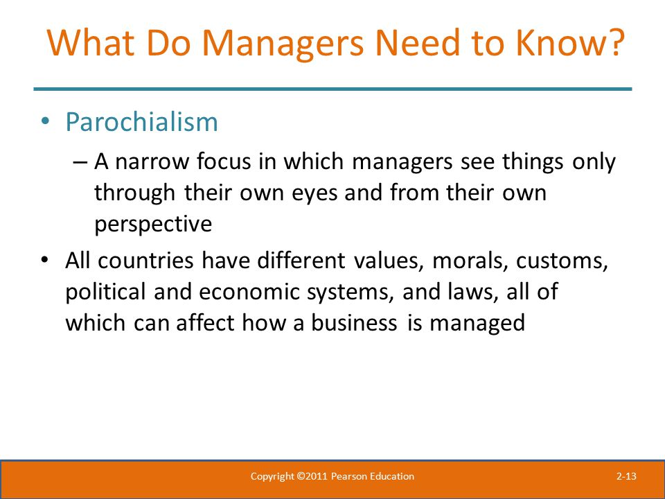 What Do Managers Need to Know