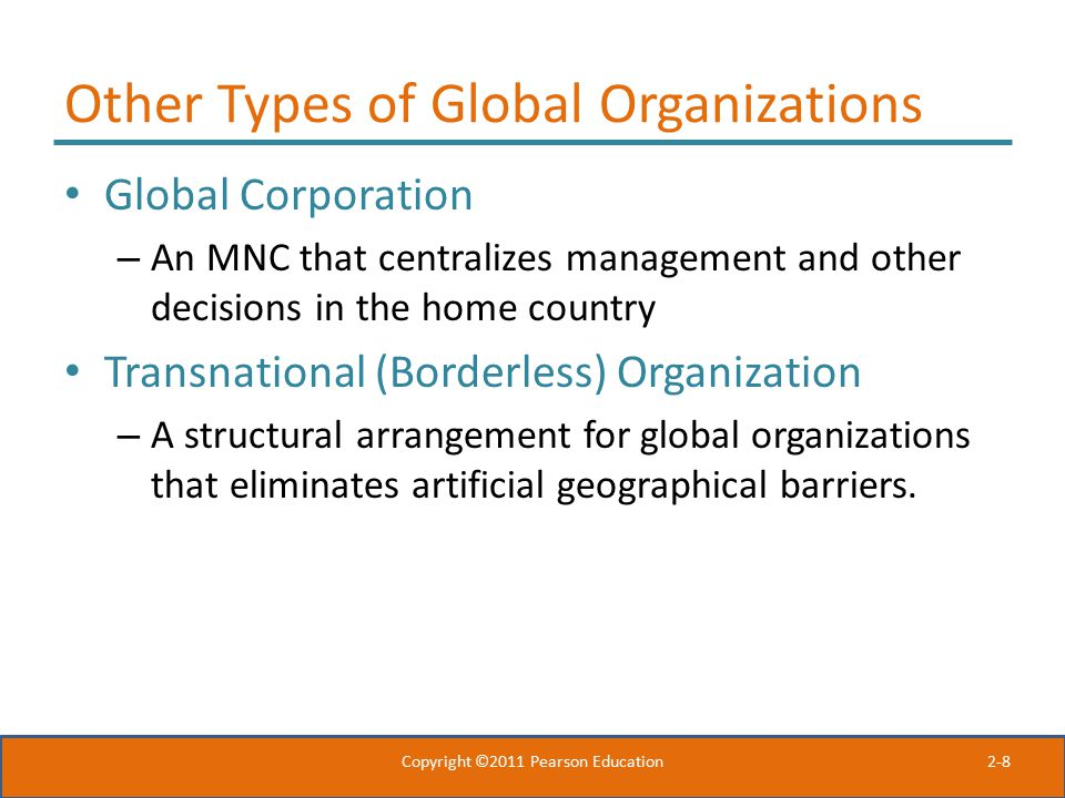 Other Types of Global Organizations
