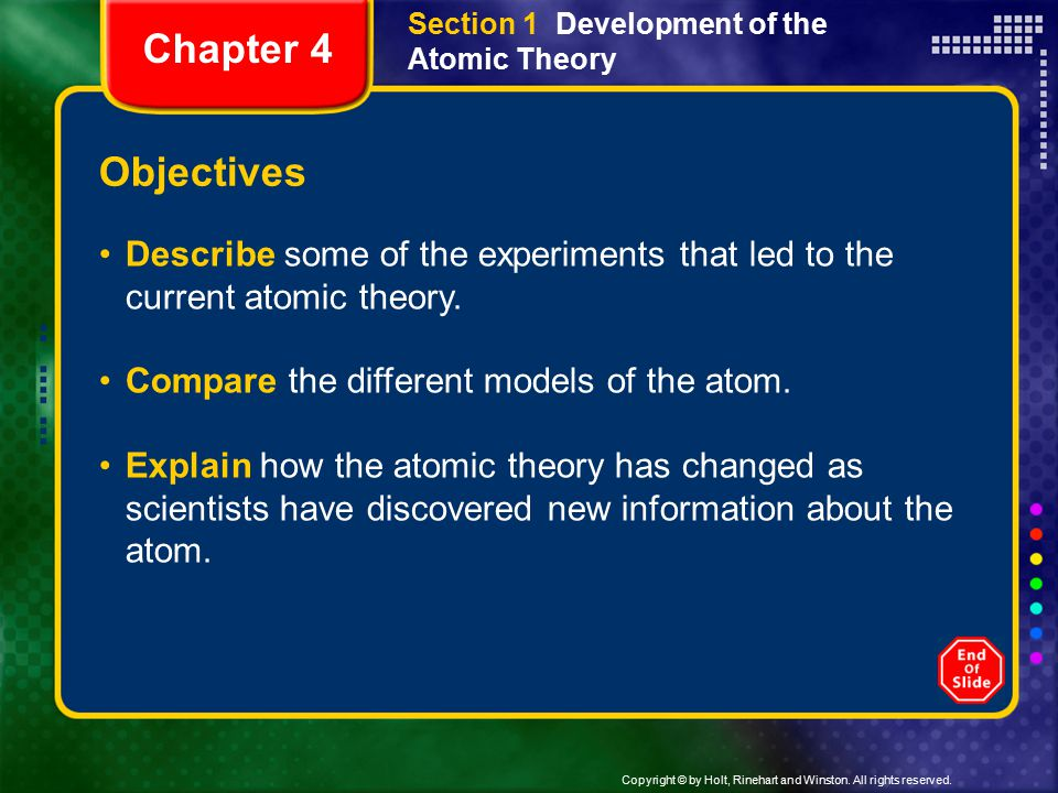 Section 1 Development of the Atomic Theory