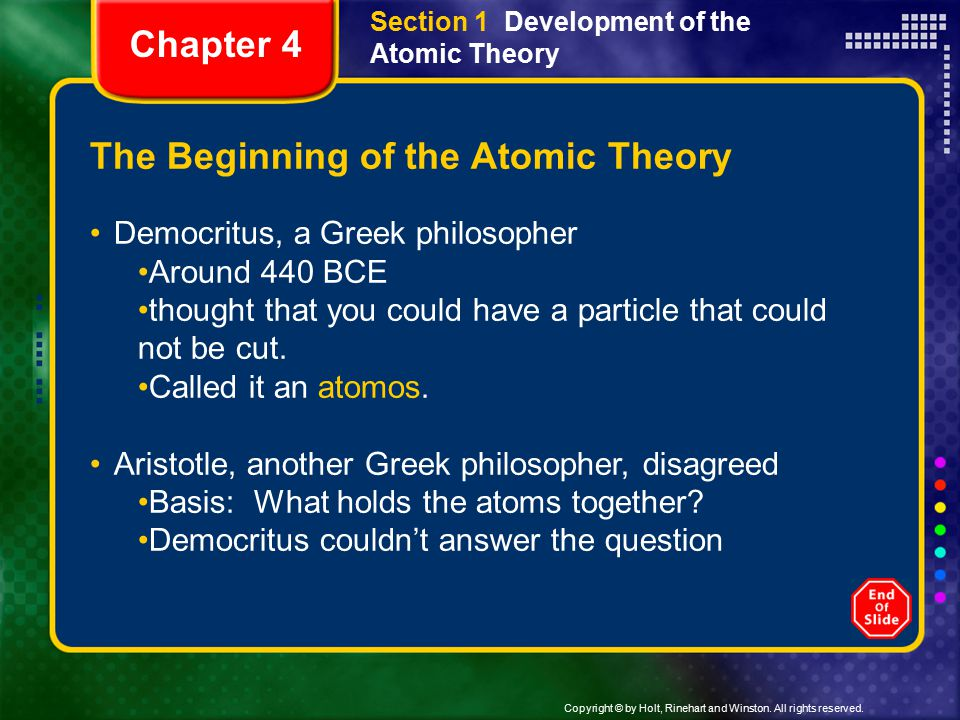 The Beginning of the Atomic Theory