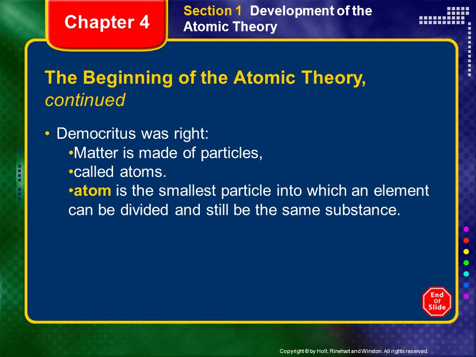 The Beginning of the Atomic Theory, continued