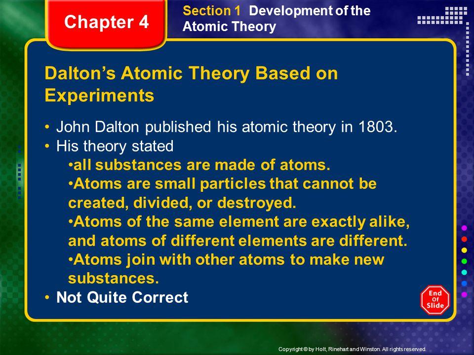 Dalton's Atomic Theory Based on Experiments