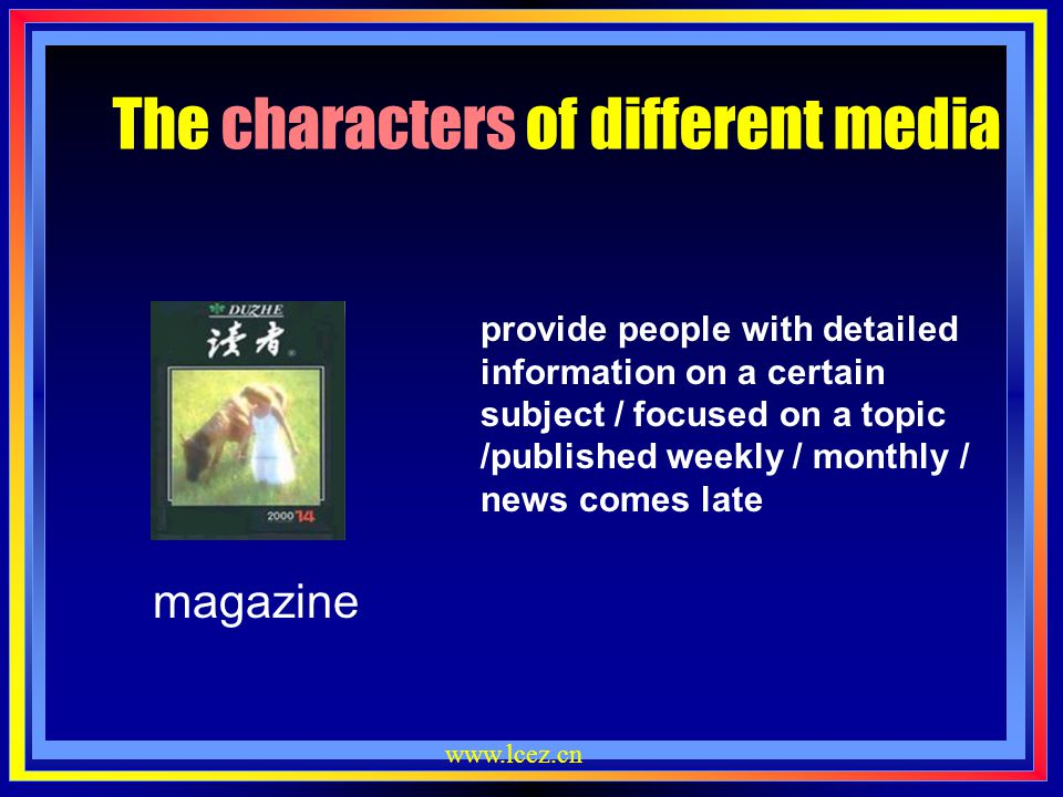 The characters of different media