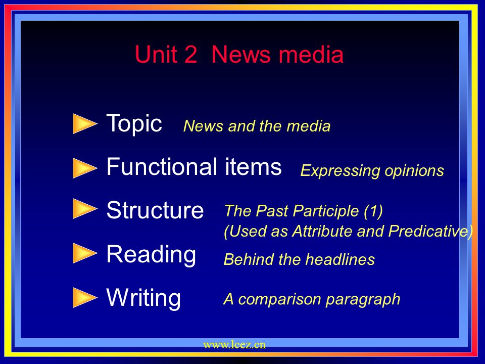 Unit 2 News media Topic Functional items Structure Reading Writing