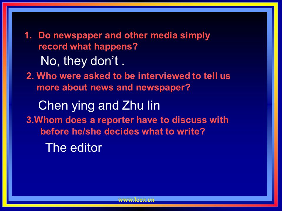 No, they don't . Chen ying and Zhu lin The editor