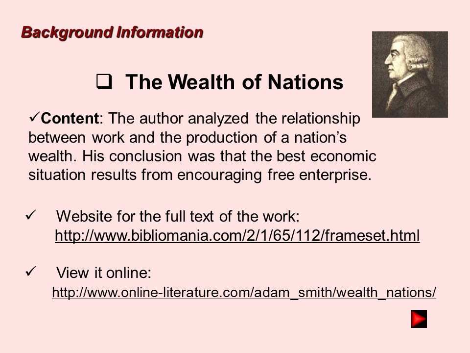 The Wealth of Nations Background Information