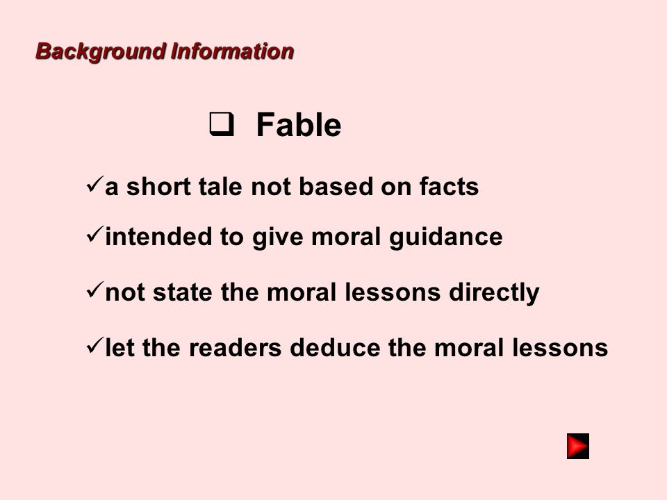 Fable a short tale not based on facts intended to give moral guidance
