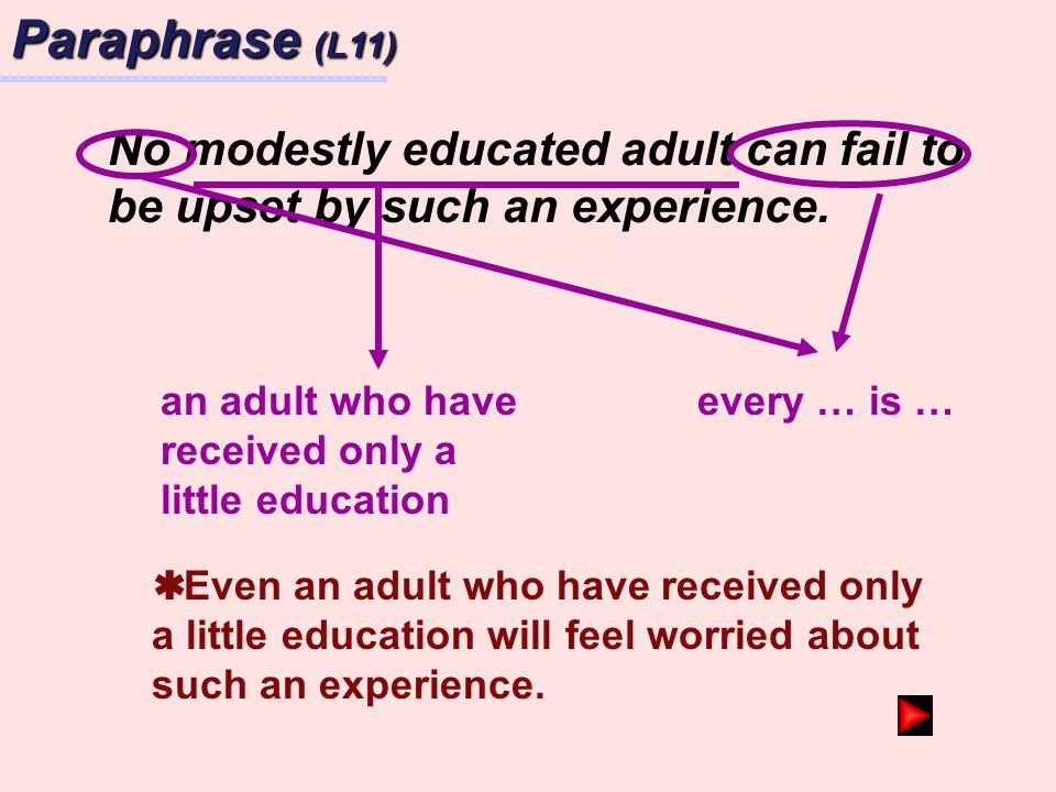 Paraphrase (L11) No modestly educated adult can fail to be upset by such an experience. an adult who have received only a little education.