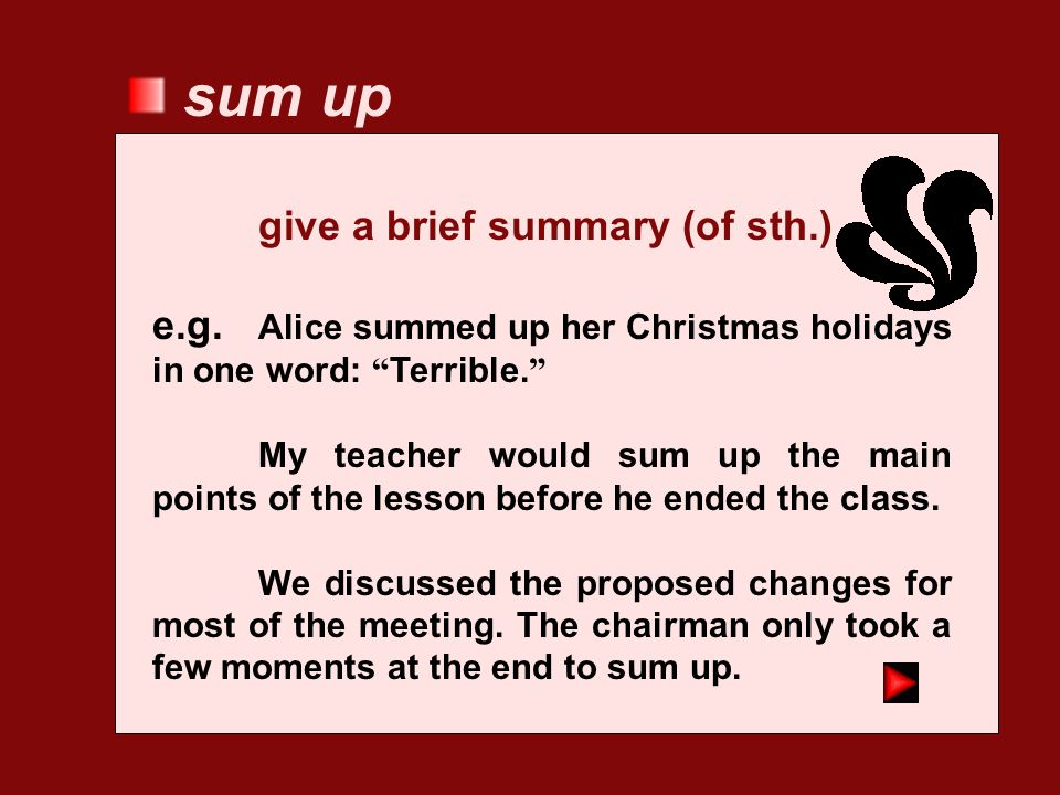 sum up give a brief summary (of sth.)