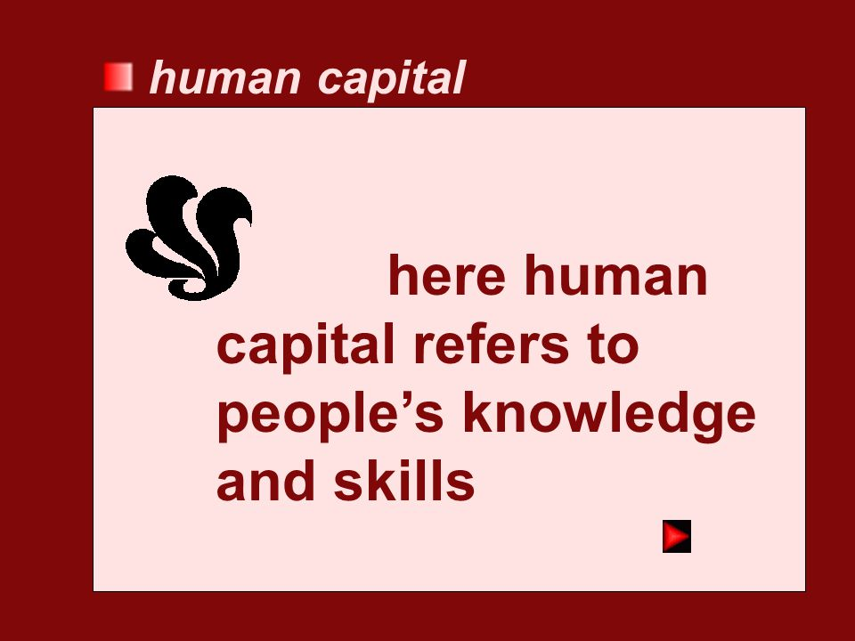 here human capital refers to people's knowledge and skills