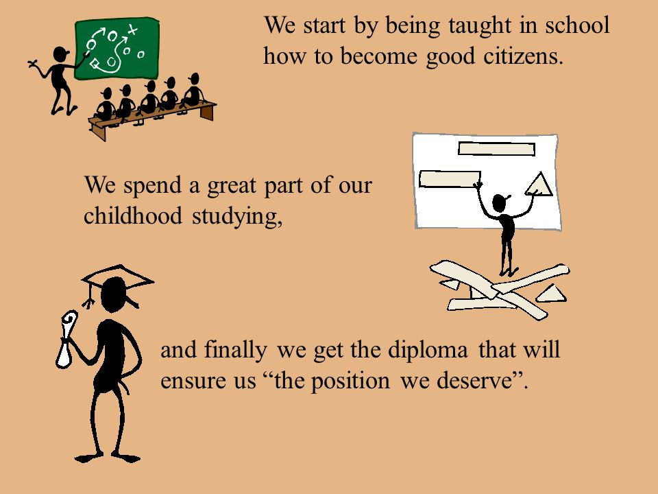 We start by being taught in school