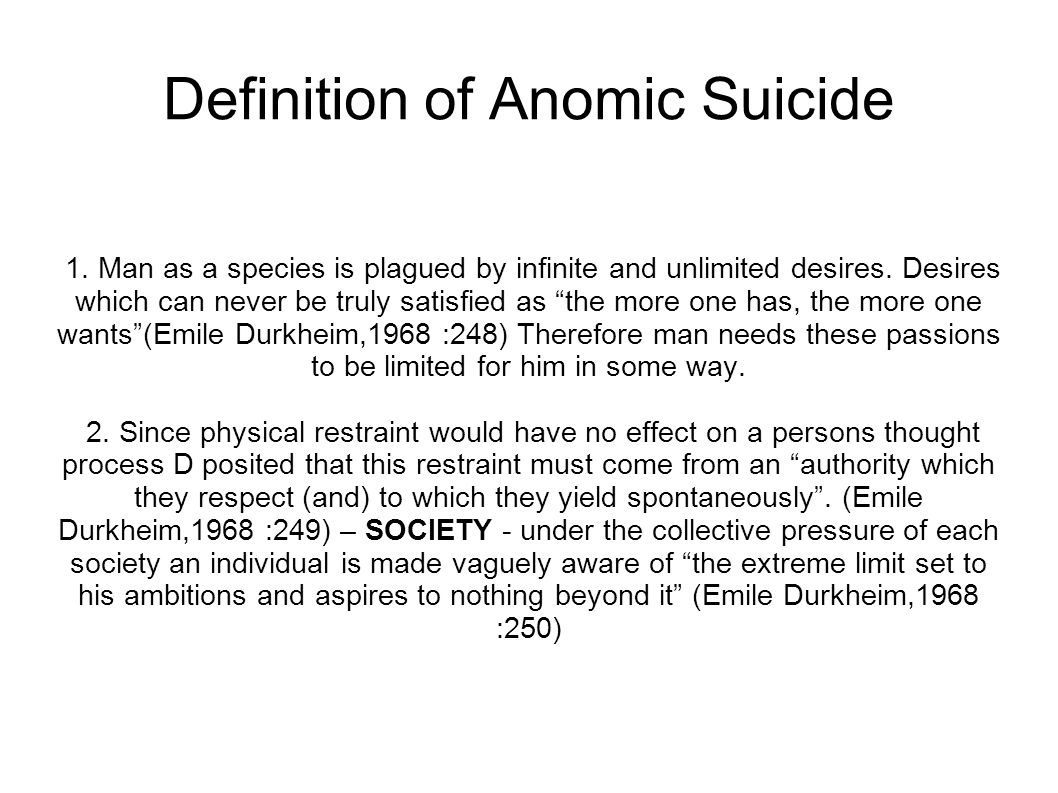 Definition of Anomic Suicide