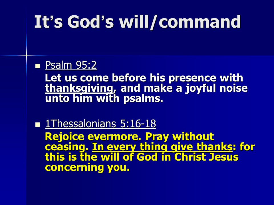 It's God's will/command
