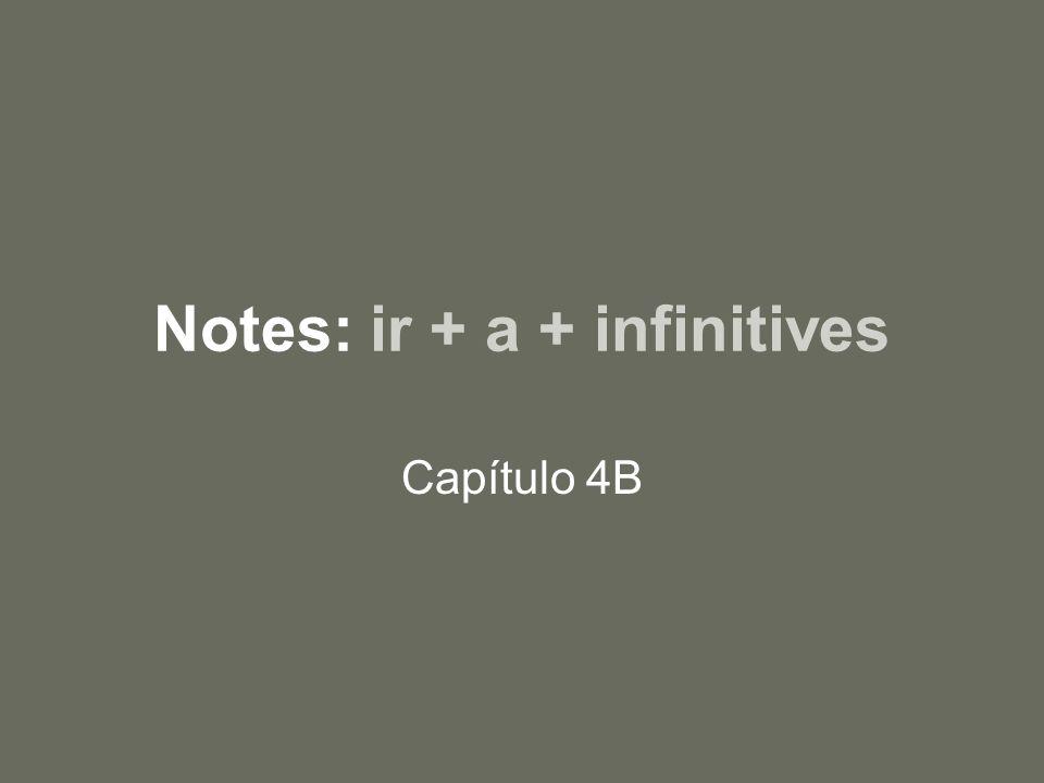 Notes: ir + a + infinitives