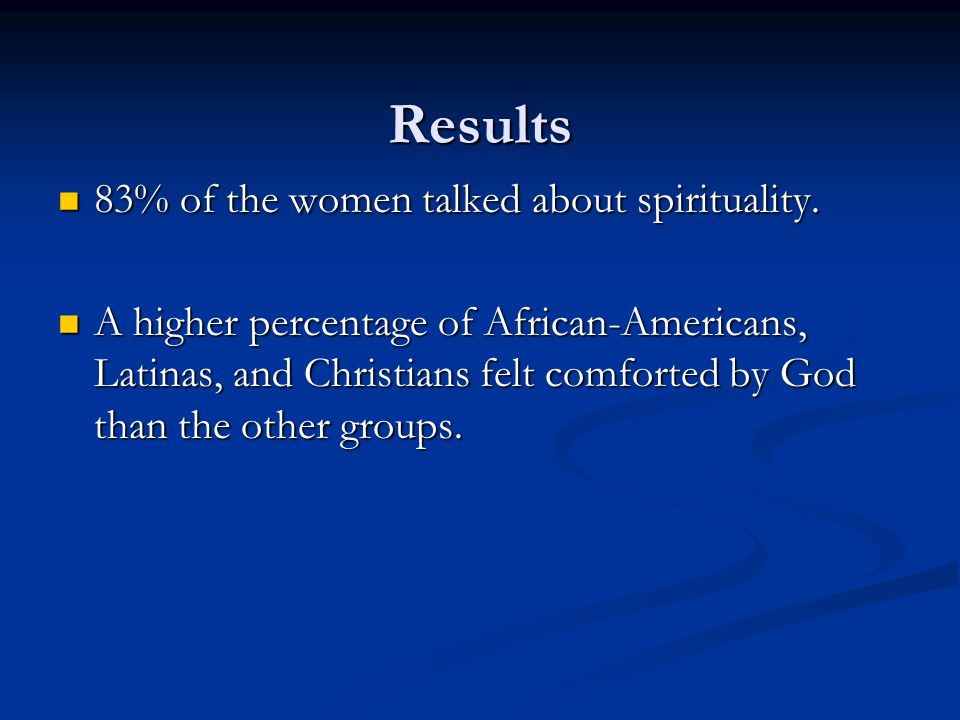 Results 83% of the women talked about spirituality.