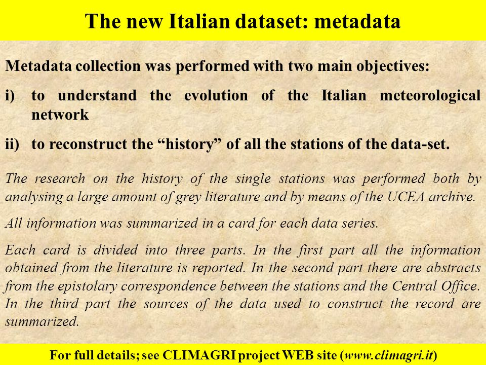 The new Italian dataset: metadata