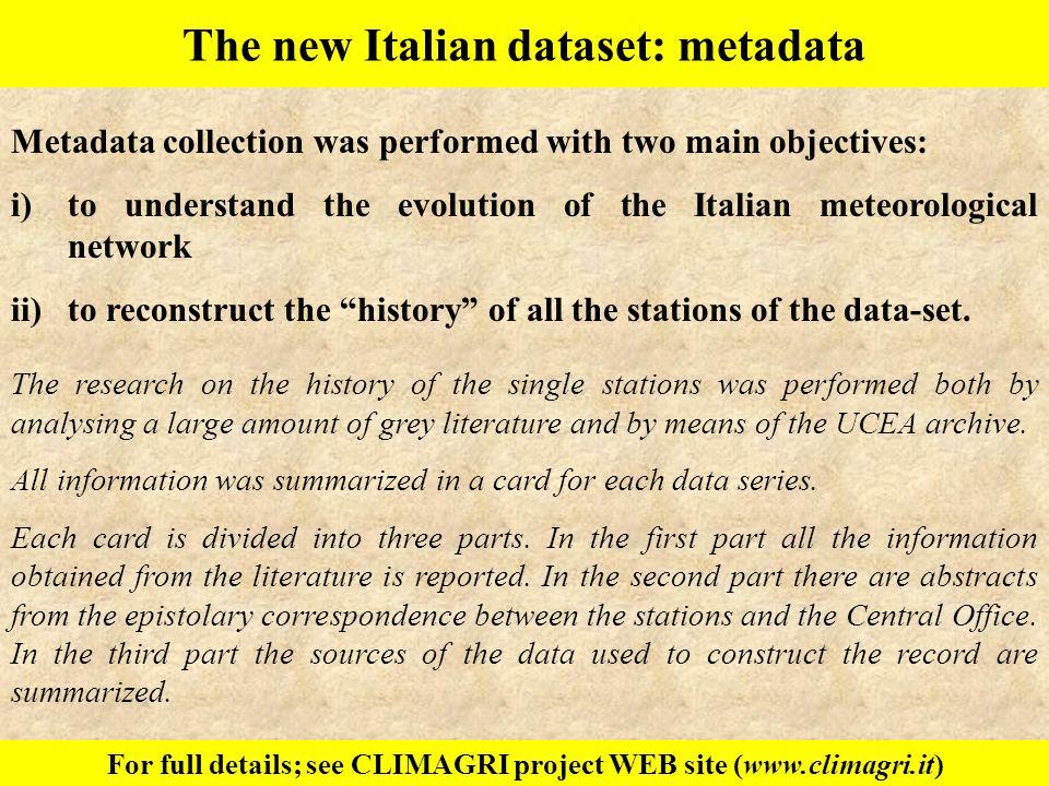 The new Italian dataset: metadata