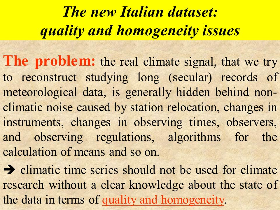 The new Italian dataset:
