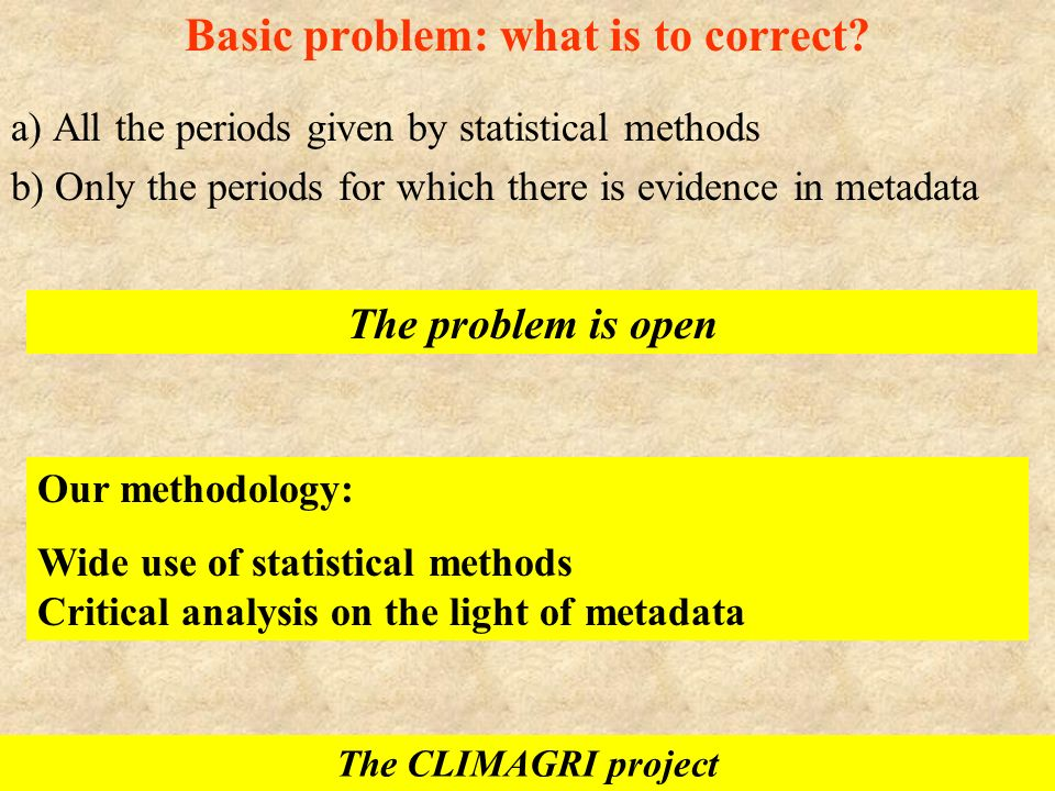 Basic problem: what is to correct