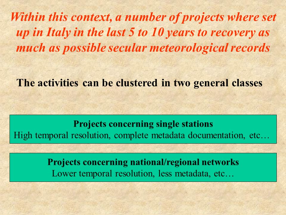 Within this context, a number of projects where set up in Italy in the last 5 to 10 years to recovery as much as possible secular meteorological records