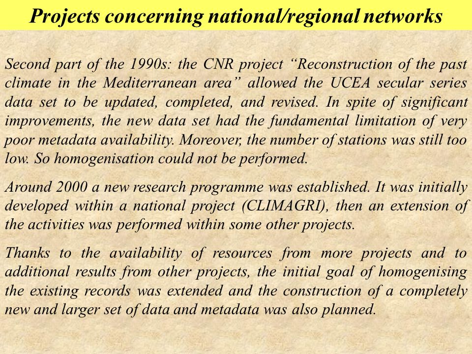 Projects concerning national/regional networks