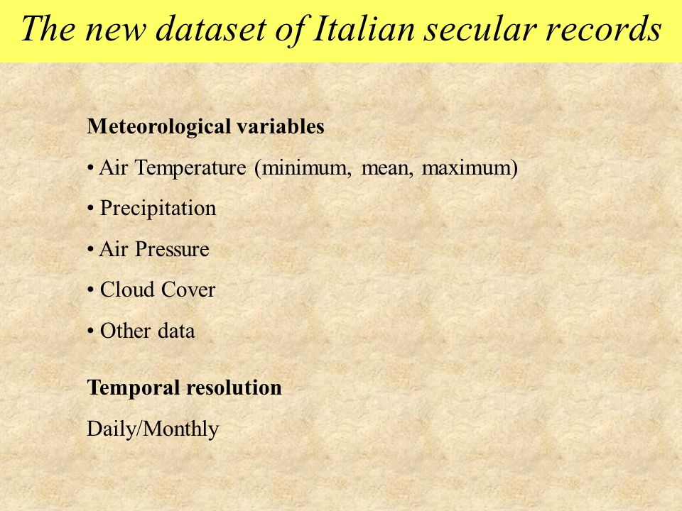The new dataset of Italian secular records