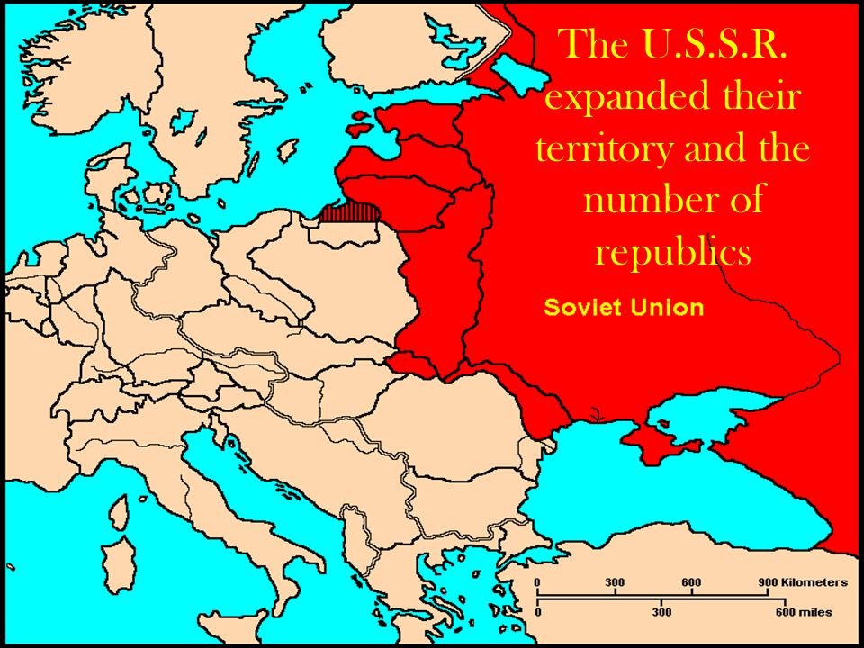 The U.S.S.R. expanded their territory and the number of republics