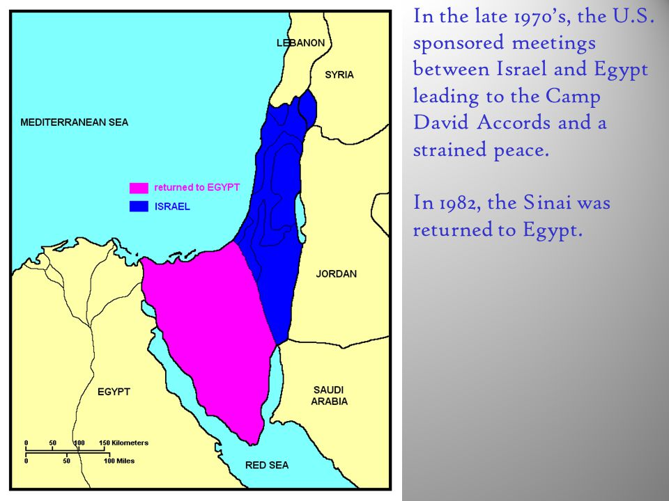 In the late 1970's, the U.S. sponsored meetings between Israel and Egypt leading to the Camp David Accords and a strained peace.