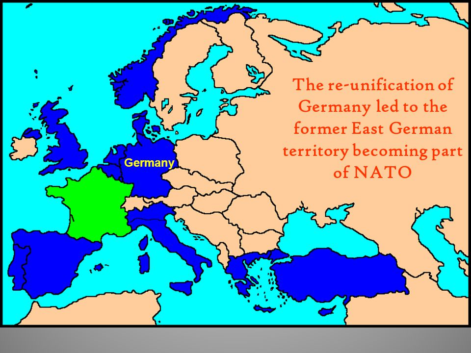 The re-unification of Germany led to the former East German territory becoming part of NATO